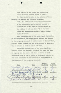 LUCILLE LUCY BALL - DOCUMENT SIGNED 09/27/1954 CO-SIGNED BY: DESI ARNAZ SR.