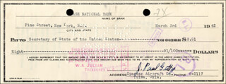 J. PAUL GETTY - AUTOGRAPHED SIGNED CHECK 03/03/1942