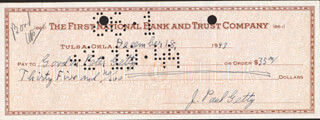 J. PAUL GETTY - AUTOGRAPHED SIGNED CHECK 12/18/1943 CO-SIGNED BY: GORDON PETER GETTY