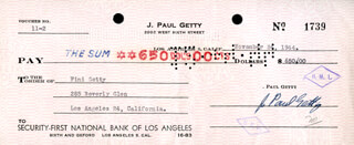 J. PAUL GETTY - AUTOGRAPHED SIGNED CHECK 11/24/1944 CO-SIGNED BY: ADOLPHINE FINI GETTY