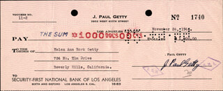 J. PAUL GETTY - AUTOGRAPHED SIGNED CHECK 11/24/1944 CO-SIGNED BY: ANN RORK GETTY