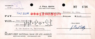 J. PAUL GETTY - AUTOGRAPHED SIGNED CHECK 11/24/1944 CO-SIGNED BY: JEAN RONALD GETTY