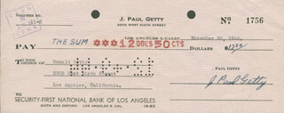 J. PAUL GETTY - AUTOGRAPHED SIGNED CHECK 11/30/1944 CO-SIGNED BY: JEAN RONALD GETTY