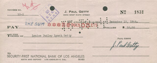Autographs: J. PAUL GETTY - CHECK SIGNED 12/15/1944 CO-SIGNED BY: LOUISE DUDLEY LYNCH GETTY