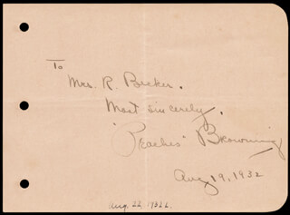 Autographs: PEACHES BROWNING - AUTOGRAPH NOTE SIGNED 08/19/1932