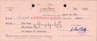 J. PAUL GETTY - AUTOGRAPHED SIGNED CHECK 08/31/1945 CO-SIGNED BY: ADOLPHINE FINI GETTY