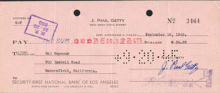 J. PAUL GETTY - AUTOGRAPHED SIGNED CHECK 09/10/1945