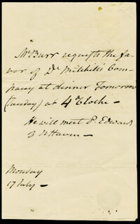 VICE PRESIDENT AARON BURR - THIRD PERSON AUTOGRAPH LETTER 07/17