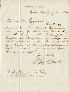 MAJOR GENERAL BENJAMIN F. BUTLER - AUTOGRAPH LETTER SIGNED 07/26/1882