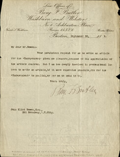 MAJOR GENERAL BENJAMIN F. BUTLER - TYPED LETTER SIGNED 09/30