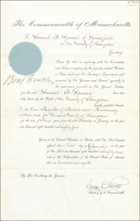 MAJOR GENERAL BENJAMIN F. BUTLER - DOCUMENT SIGNED 12/01/1883 CO-SIGNED BY: HENRY B. PEIRCE