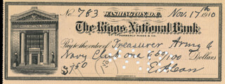 MAJOR GENERAL EUGENE A. CARR - AUTOGRAPHED SIGNED CHECK 11/17/1910
