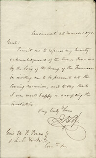 Autographs: MAJOR GENERAL JACOB D. COX - AUTOGRAPH LETTER SIGNED 03/23/1871