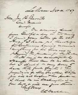 MAJOR GENERAL CADWALLADER C. WASHBURN - AUTOGRAPH LETTER SIGNED 11/04/1867