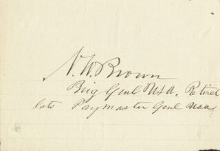 BRIGADIER GENERAL NATHAN W. BROWN - AUTOGRAPH