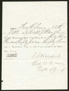 Autographs: BRIGADIER GENERAL SAMUEL B. HOLABIRD - ANNOTATED DOCUMENT SIGNED 09/12/1863