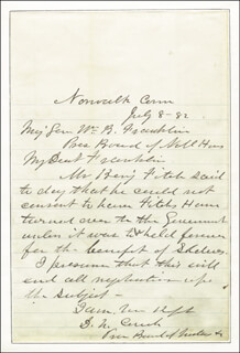 Autographs: MAJOR GENERAL DARIUS N. COUCH - AUTOGRAPH LETTER SIGNED 07/08/1882