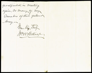 Autographs: MAJOR GENERAL WILLIAM W. BELKNAP - AUTOGRAPH LETTER SIGNED 03/22/1871