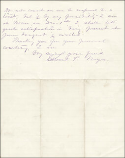 BRIGADIER GENERAL EDWARD FOLLANSBEE NOYES - AUTOGRAPH LETTER SIGNED 11/12/1884