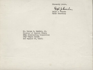 RALPH J. BUNCHE - TYPED SENTIMENT SIGNED