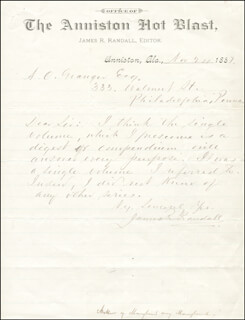 JAMES RYDER RANDALL - AUTOGRAPH LETTER SIGNED 11/24/1887