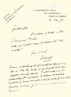 Autographs: EARL OF JELLICOE (JOHN RUSHWORTH) - AUTOGRAPH LETTER SIGNED 01/12/1934