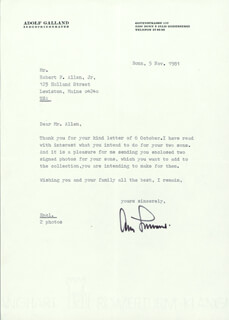 GENERAL ADOLF GALLAND - TYPED LETTER SIGNED 11/05/1981
