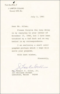 GENERAL J. LAWTON COLLINS - TYPED LETTER SIGNED 07/02/1981
