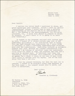 CHARLES A. LINDBERGH - TYPED LETTER SIGNED 06/02/1966