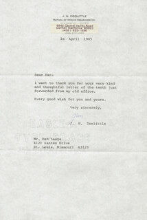 BRIGADIER GENERAL JAMES H. JIMMY DOOLITTLE - TYPED LETTER SIGNED 04/16/1985