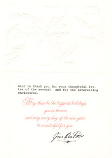 Autographs: BRIGADIER GENERAL JAMES H. JIMMY DOOLITTLE - CHRISTMAS / HOLIDAY CARD SIGNED