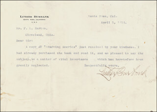 LUTHER BURBANK - TYPED LETTER SIGNED 04/01/1914