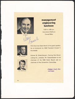 DEAN BURCH - PROGRAM SIGNED 03/31/1971