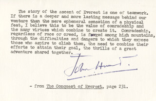 Autographs: JOHN (HENRY CECIL) HUNT - TYPED QUOTATION SIGNED