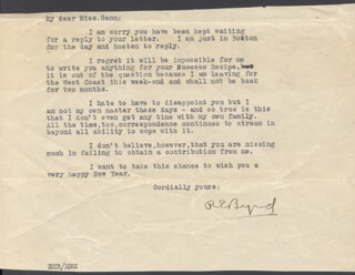 Autographs: REAR ADMIRAL RICHARD E. BYRD - TYPED LETTER SIGNED