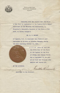 PRESIDENT FRANKLIN D. ROOSEVELT - DOCUMENT SIGNED 09/24/1931