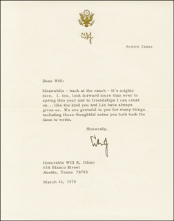 PRESIDENT LYNDON B. JOHNSON - TYPED LETTER SIGNED 03/16/1970