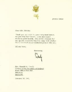 PRESIDENT LYNDON B. JOHNSON - TYPED LETTER SIGNED 01/30/1971