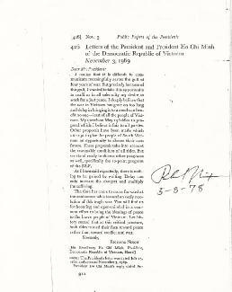 Autographs: PRESIDENT RICHARD M. NIXON - PRINTED DOCUMENT SIGNED IN INK 05/08/1978