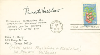 Autographs: RENATO DULBECCO - FIRST DAY COVER SIGNED