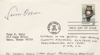 Autographs: SEVERO OCHOA - FIRST DAY COVER SIGNED
