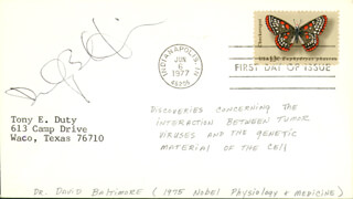 DAVID BALTIMORE - FIRST DAY COVER SIGNED