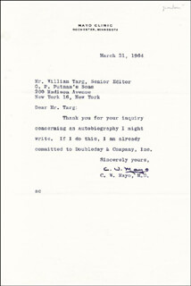 CHARLES W. MAYO - TYPED LETTER SIGNED 03/31/1964