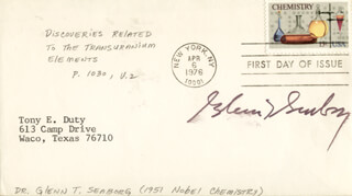 GLENN T. SEABORG - FIRST DAY COVER SIGNED