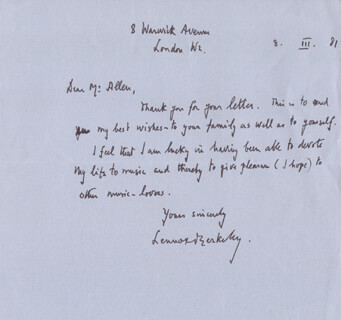 SIR LENNOX BERKELEY - AUTOGRAPH LETTER SIGNED 03/08/1981