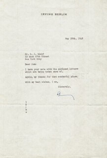 Autographs: IRVING BERLIN - TYPED LETTER SIGNED 05/28/1948