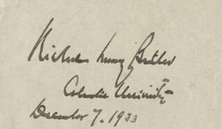 Autographs: NICHOLAS MURRAY BUTLER - SIGNATURE(S) 12/07/1933