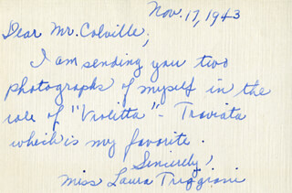 LAURA TRIGGIANI - AUTOGRAPH LETTER SIGNED 11/17/1943