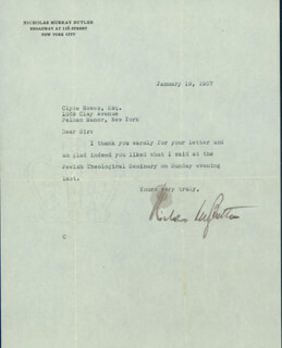 Autographs: NICHOLAS MURRAY BUTLER - TYPED NOTE SIGNED 01/19/1937