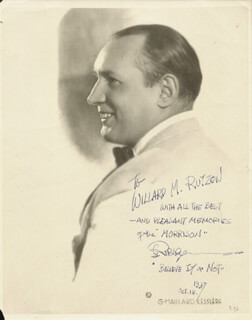 ROBERT BELIEVE IT OR NOT! RIPLEY - AUTOGRAPHED INSCRIBED PHOTOGRAPH 10/18/1937